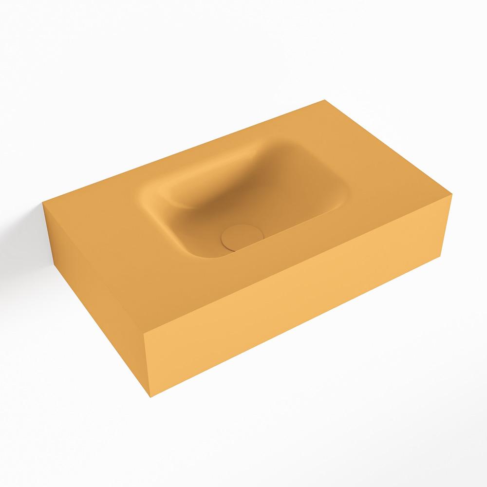 MONDIAZ LEX Ocher vrijhangende solid surface wastafel 50cm. Positie wasbak midden