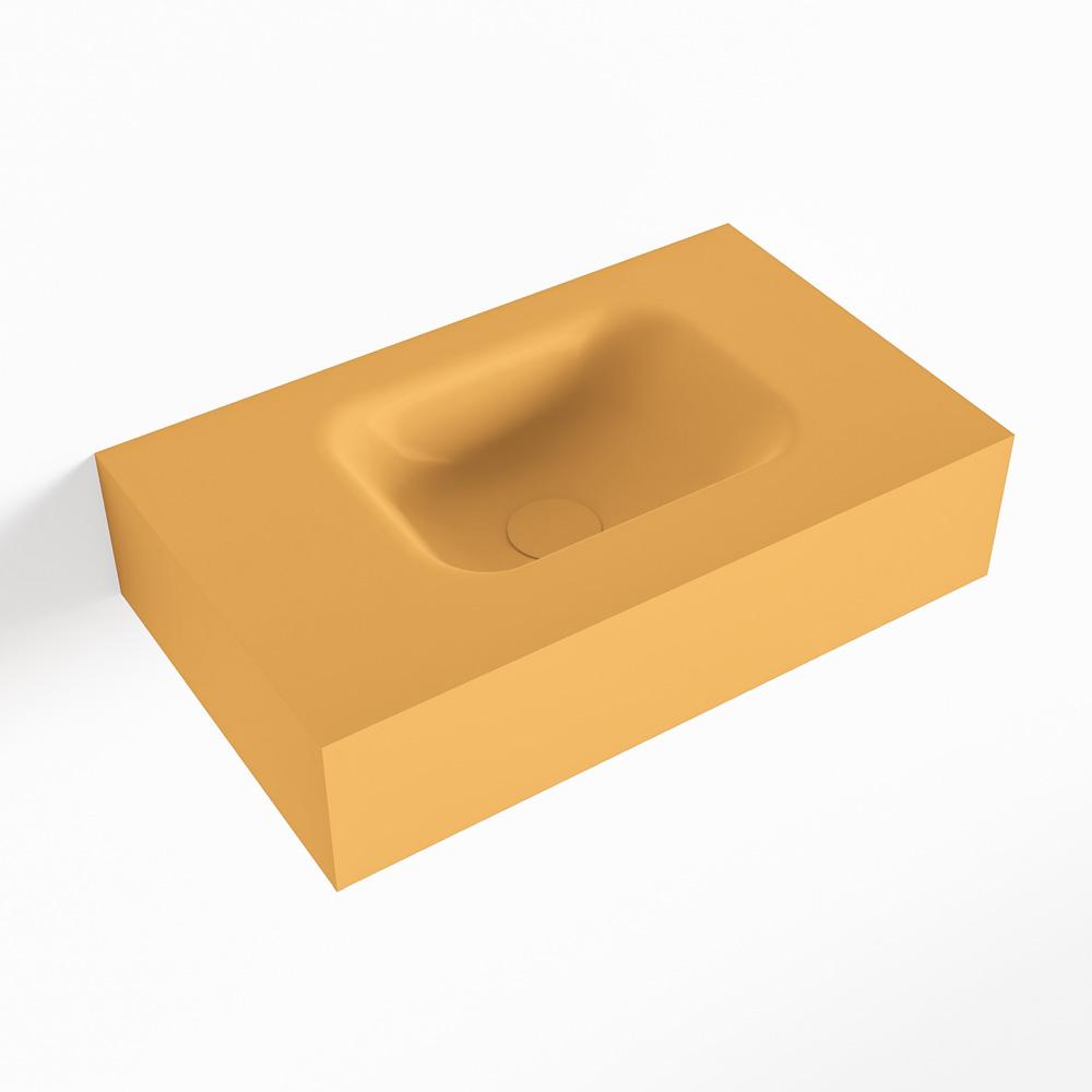 MONDIAZ LEX Ocher vrijhangende solid surface wastafel 50cm. Positie wasbak rechts