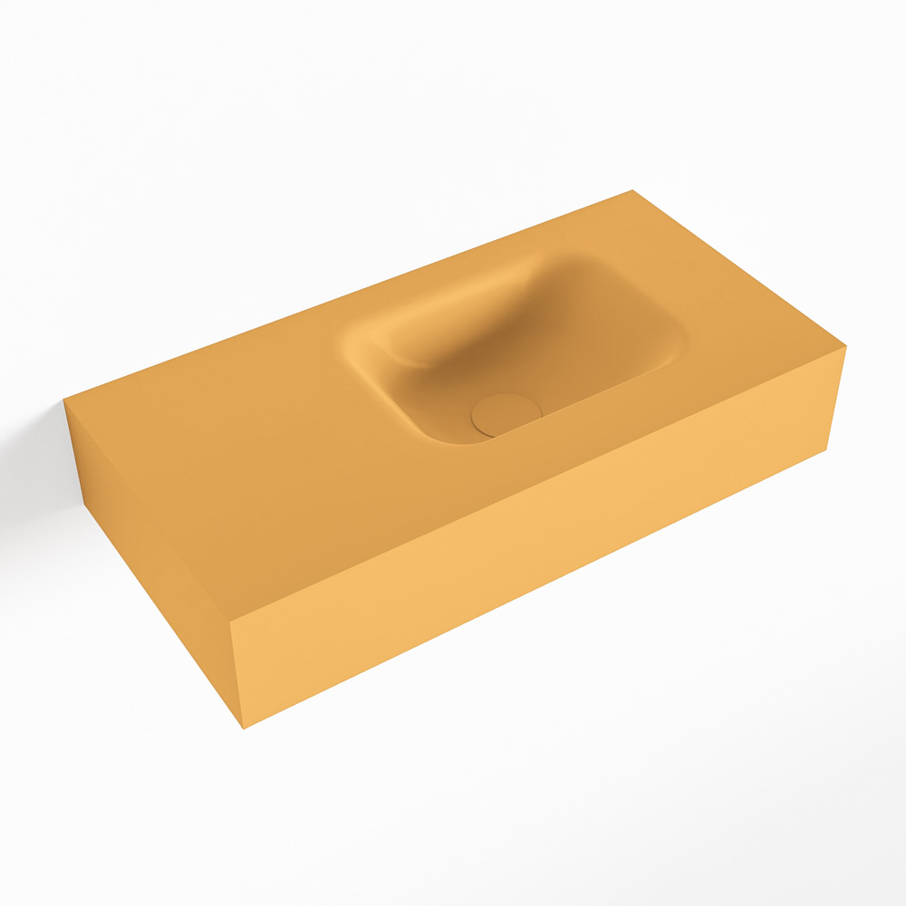 MONDIAZ LEX Ocher vrijhangende solid surface wastafel 60cm. Positie wasbak rechts