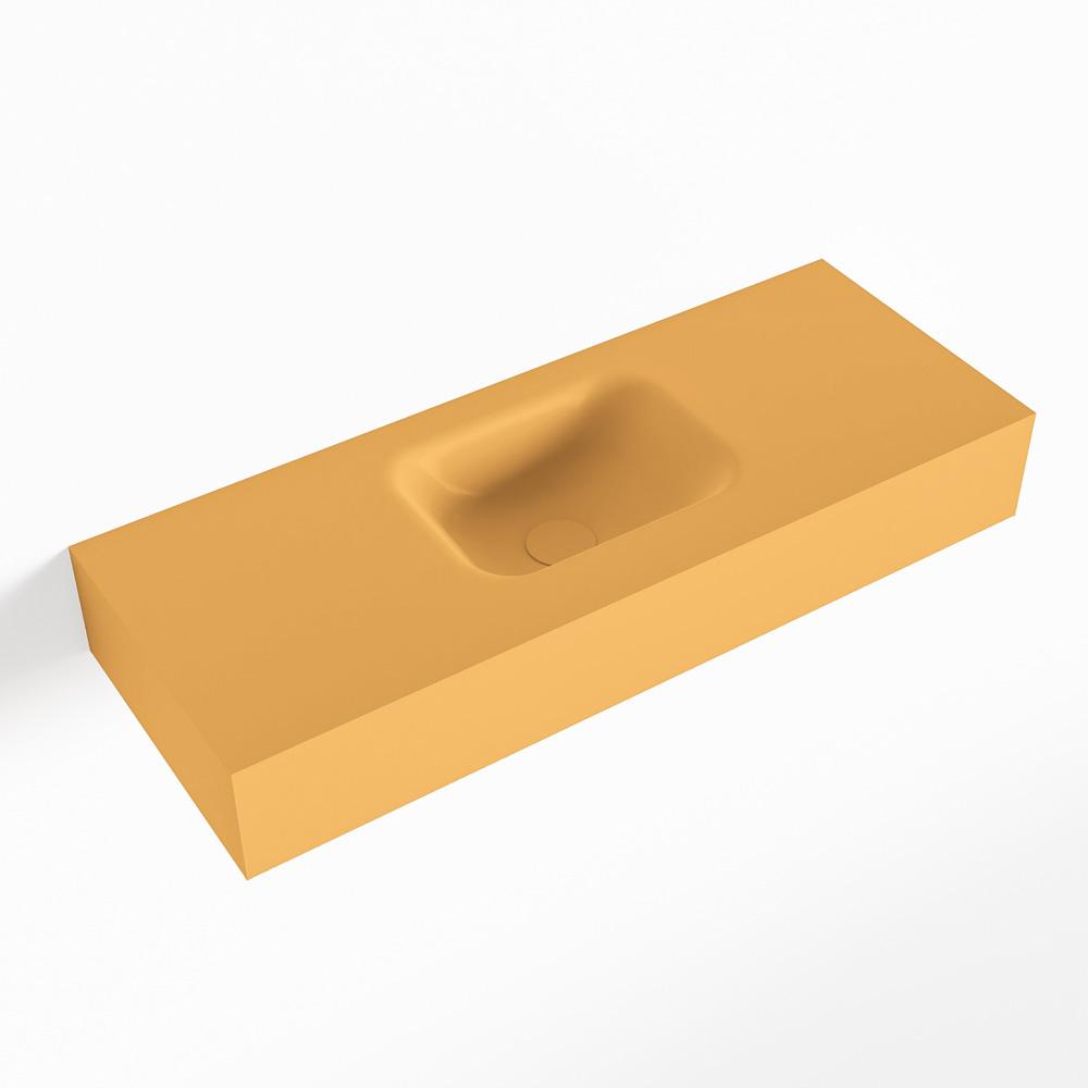 MONDIAZ LEX Ocher vrijhangende solid surface wastafel 80cm. Positie wasbak midden