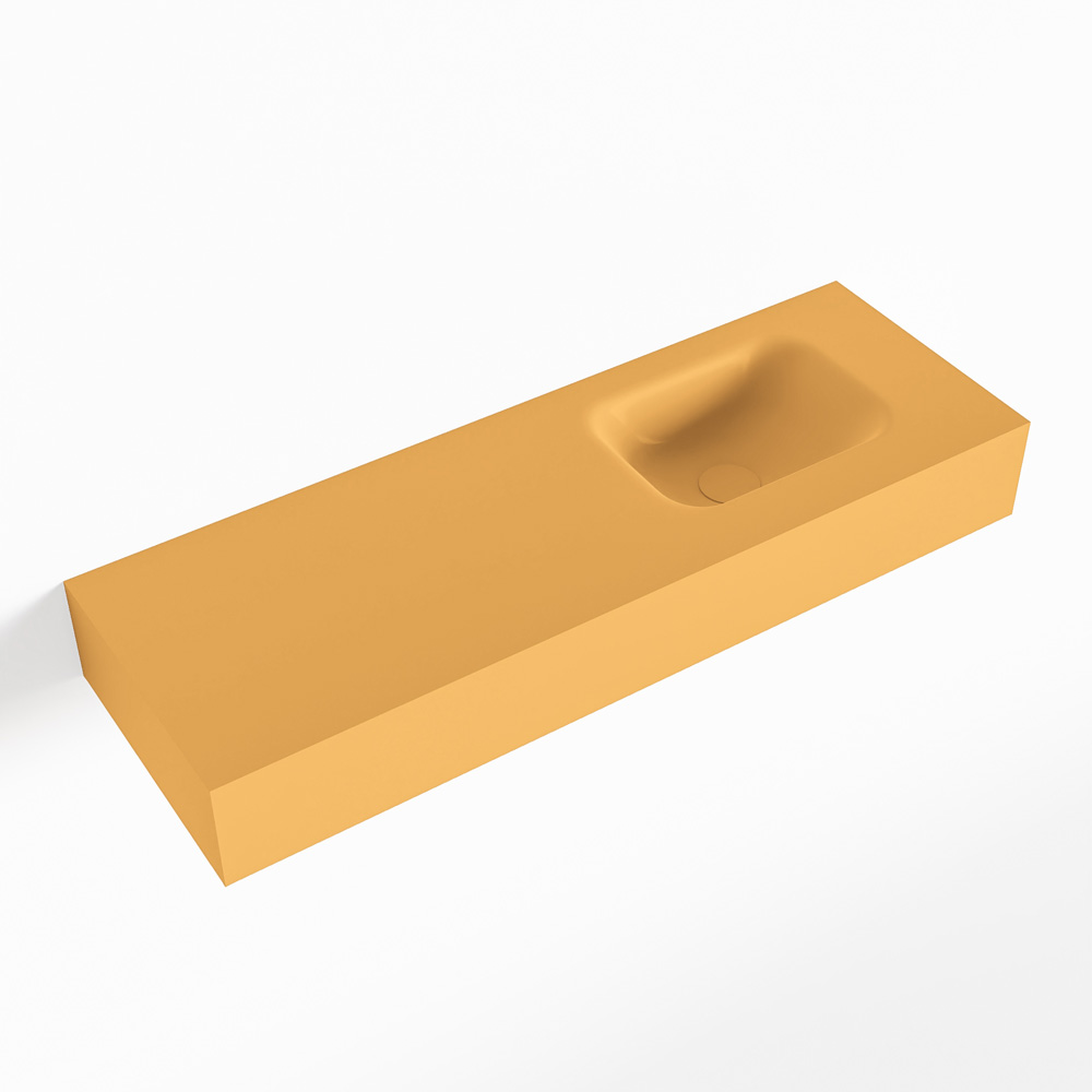 MONDIAZ LEX Ocher vrijhangende solid surface wastafel 90cm. Positie wasbak rechts