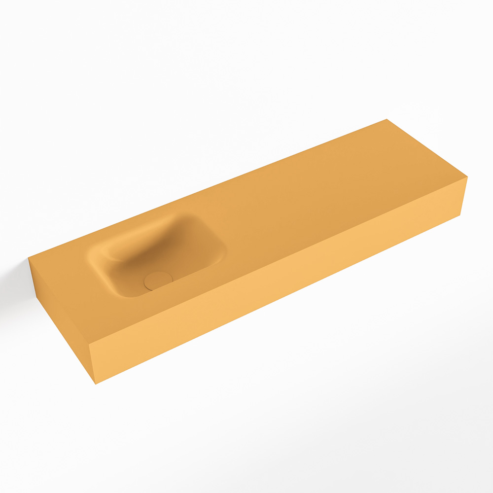 MONDIAZ LEX Ocher vrijhangende solid surface wastafel 100cm. Positie wasbak links