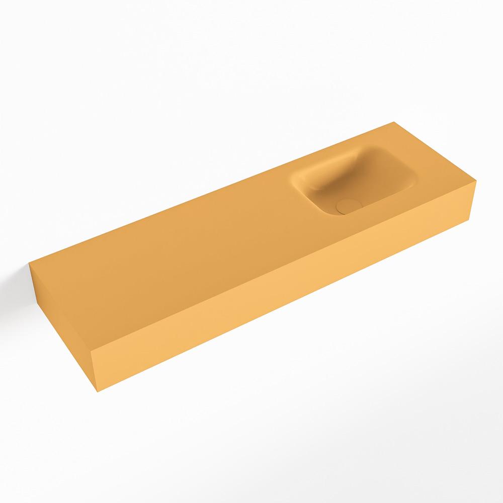 MONDIAZ LEX Ocher vrijhangende solid surface wastafel 100cm. Positie wasbak rechts
