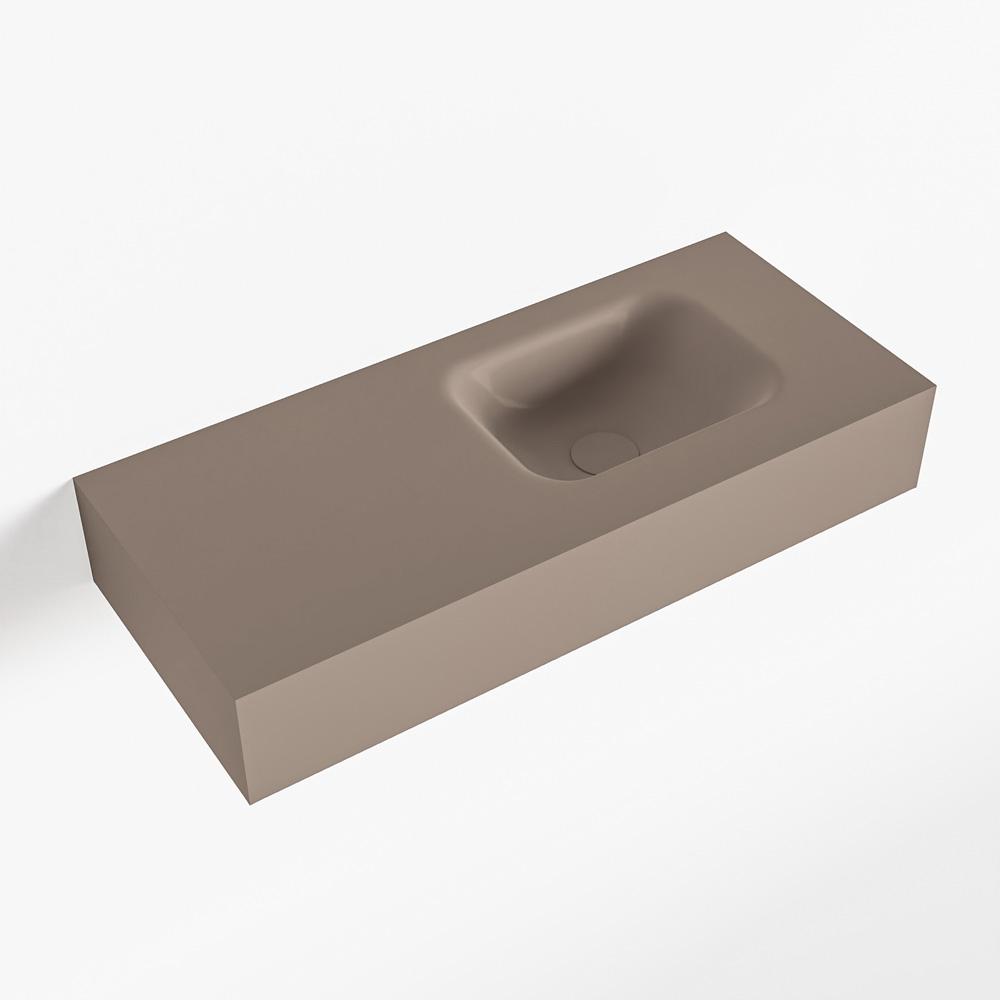 MONDIAZ LEX Smoke vrijhangende solid surface wastafel 70cm. Positie wasbak rechts