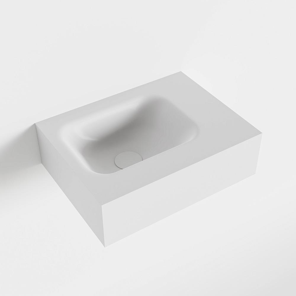 MONDIAZ LEX Talc vrijhangende solid surface wastafel 40cm. Positie wasbak links
