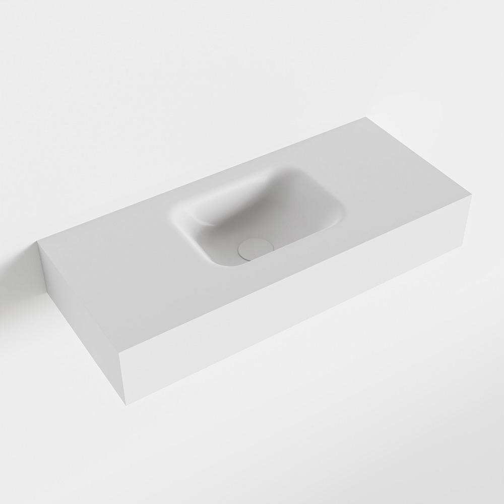 MONDIAZ LEX Talc vrijhangende solid surface wastafel 70cm. Positie wasbak midden