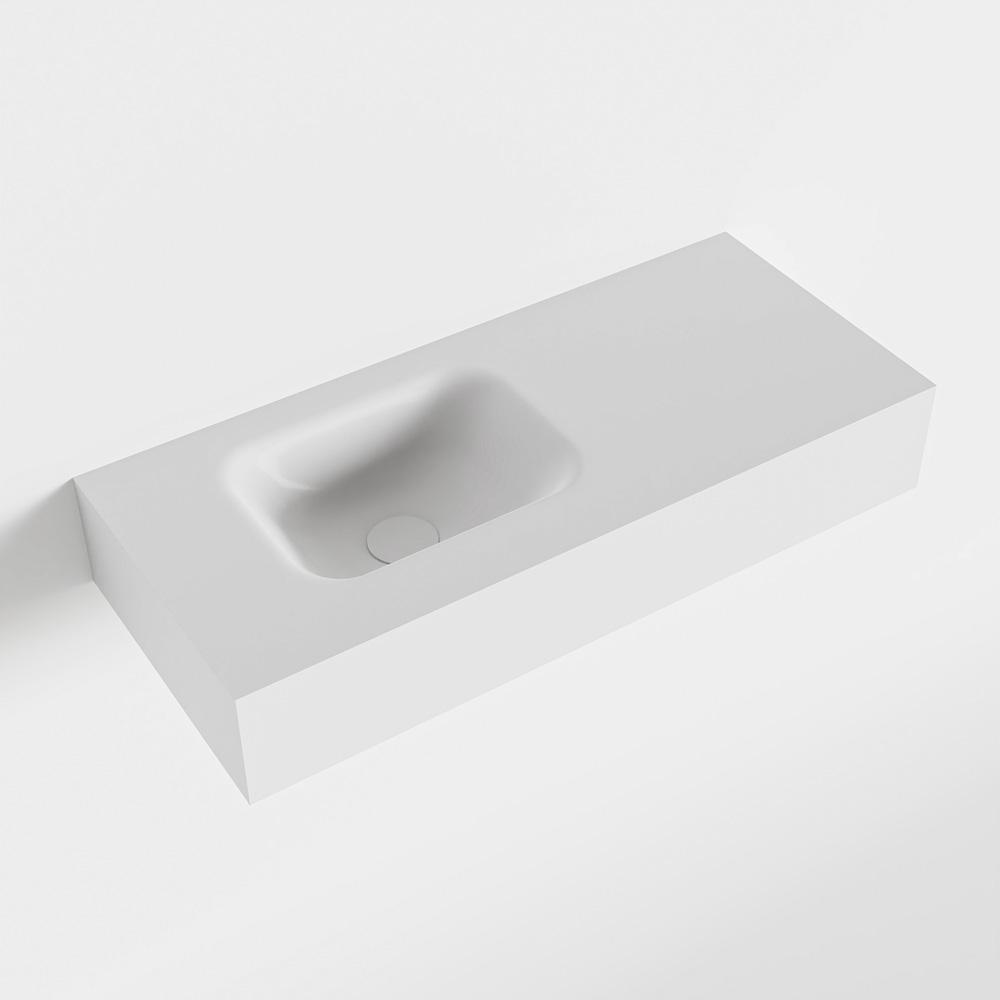 MONDIAZ LEX Talc vrijhangende solid surface wastafel 70cm. Positie wasbak links