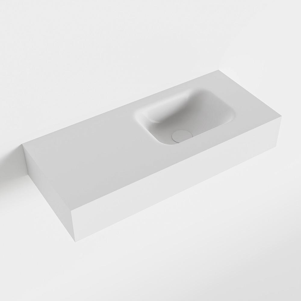 MONDIAZ LEX Talc vrijhangende solid surface wastafel 70cm. Positie wasbak rechts
