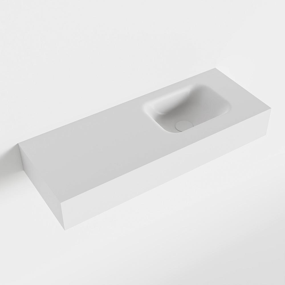 MONDIAZ LEX Talc vrijhangende solid surface wastafel 80cm. Positie wasbak rechts