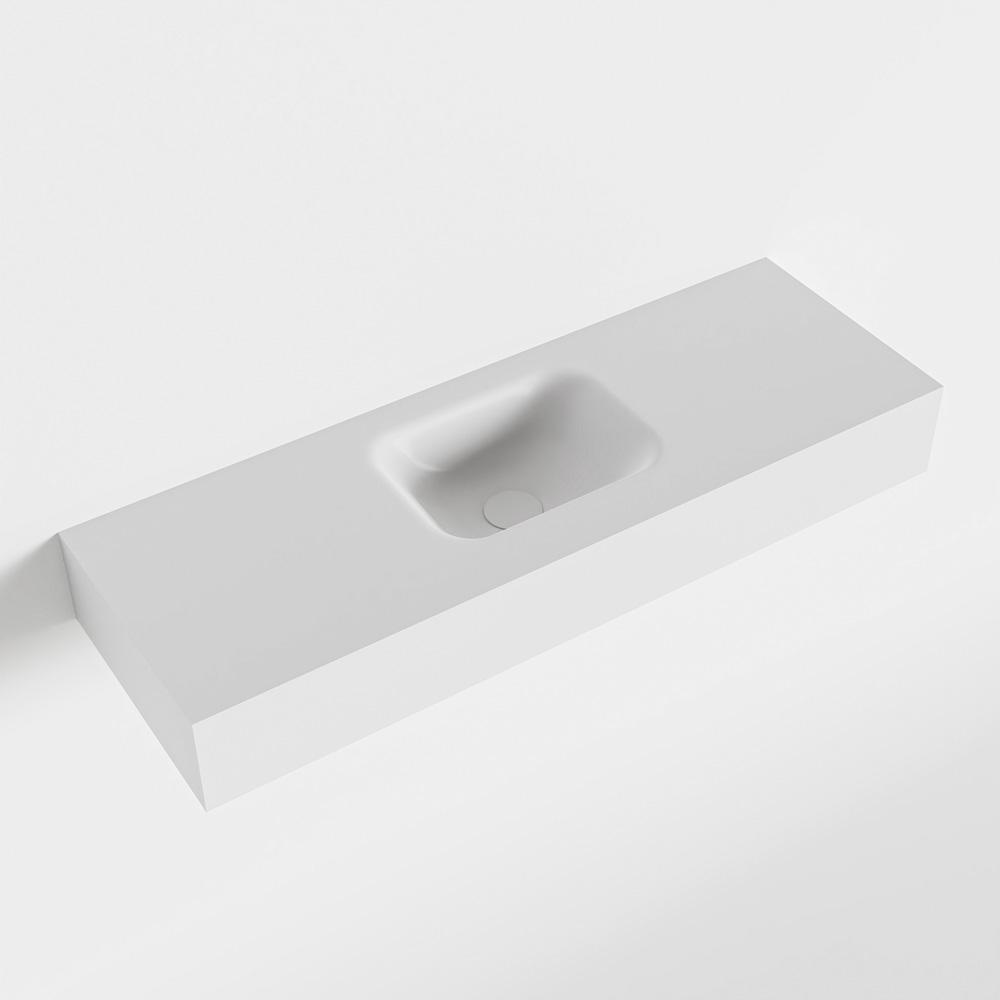 MONDIAZ LEX Talc vrijhangende solid surface wastafel 90cm. Positie wasbak midden