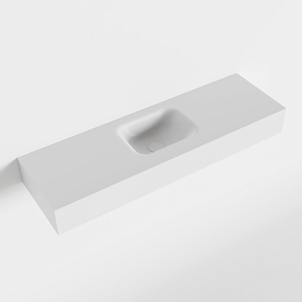 Productafbeelding van MONDIAZ LEX Opbouwwastafel 100x30x12cm 0 kraangaten wasbak midden Solid Surface Talc mat F52119Talc