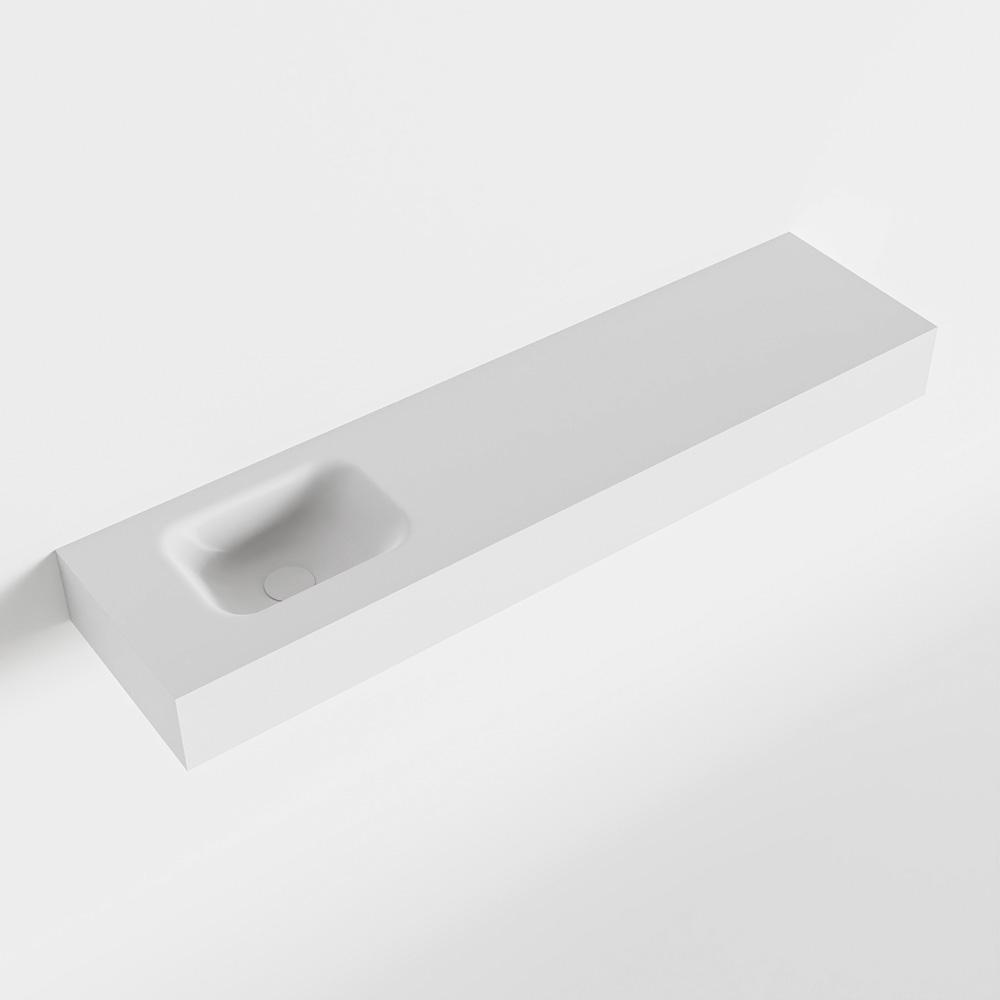 MONDIAZ LEX Talc vrijhangende solid surface wastafel 120cm. Positie wasbak links