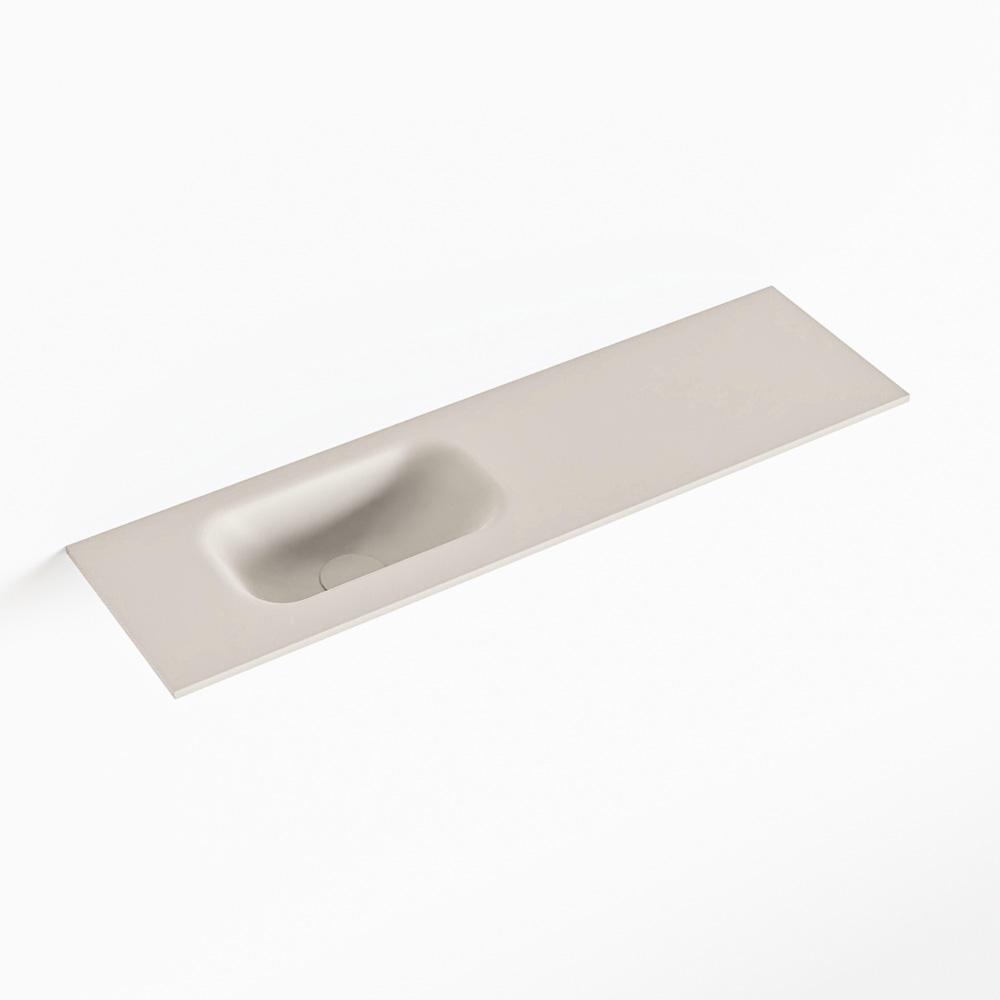 Productafbeelding van MONDIAZ EDEN Linen solid surface inleg wastafel voor toiletmeubel 80cm. Positie wasbak links