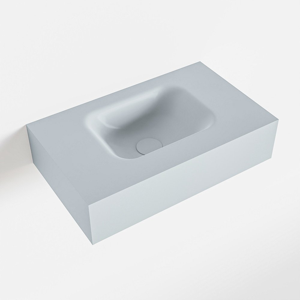 MONDIAZ LEX Clay vrijhangende solid surface wastafel 50cm. Positie wasbak midden