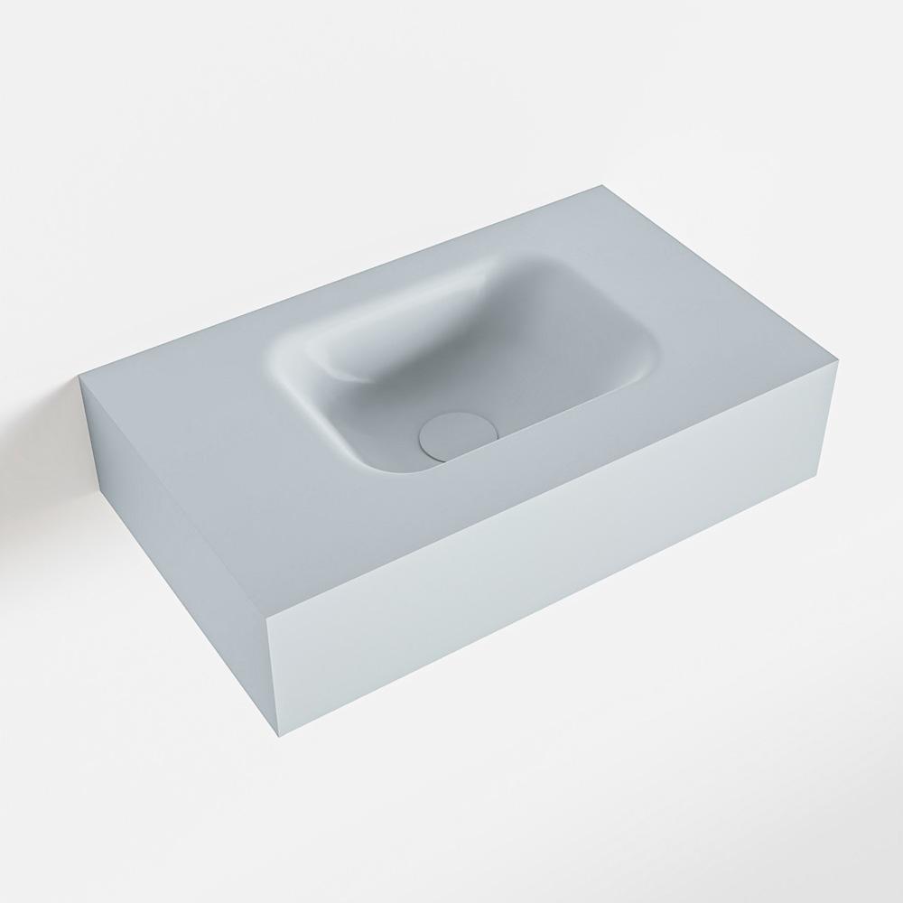 MONDIAZ LEX Clay vrijhangende solid surface wastafel 50cm. Positie wasbak rechts