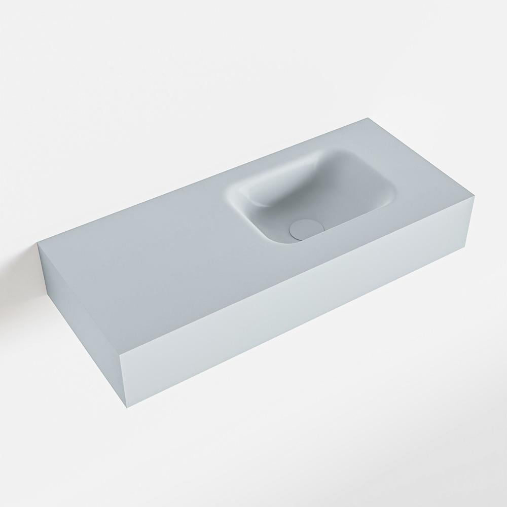 MONDIAZ LEX Clay vrijhangende solid surface wastafel 70cm. Positie wasbak rechts