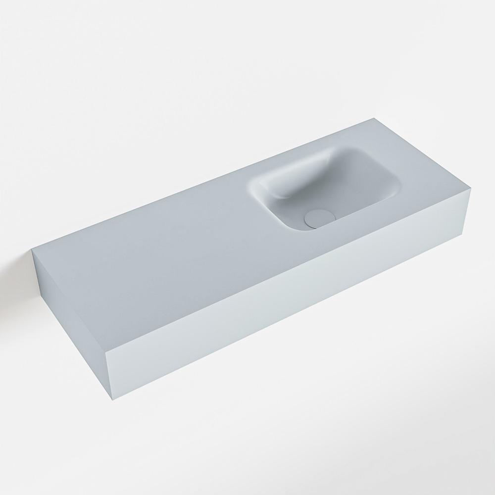 MONDIAZ LEX Clay vrijhangende solid surface wastafel 80cm. Positie wasbak rechts