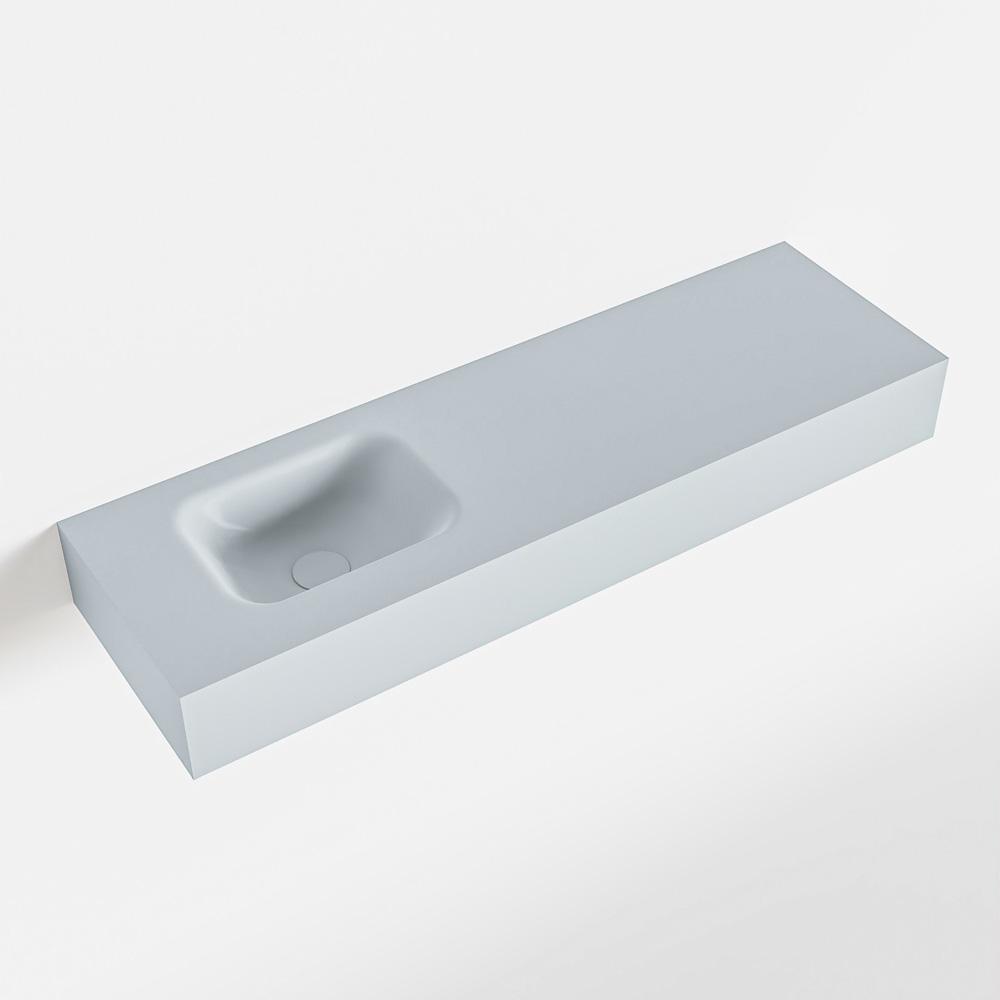 MONDIAZ LEX Clay vrijhangende solid surface wastafel 100cm. Positie wasbak links
