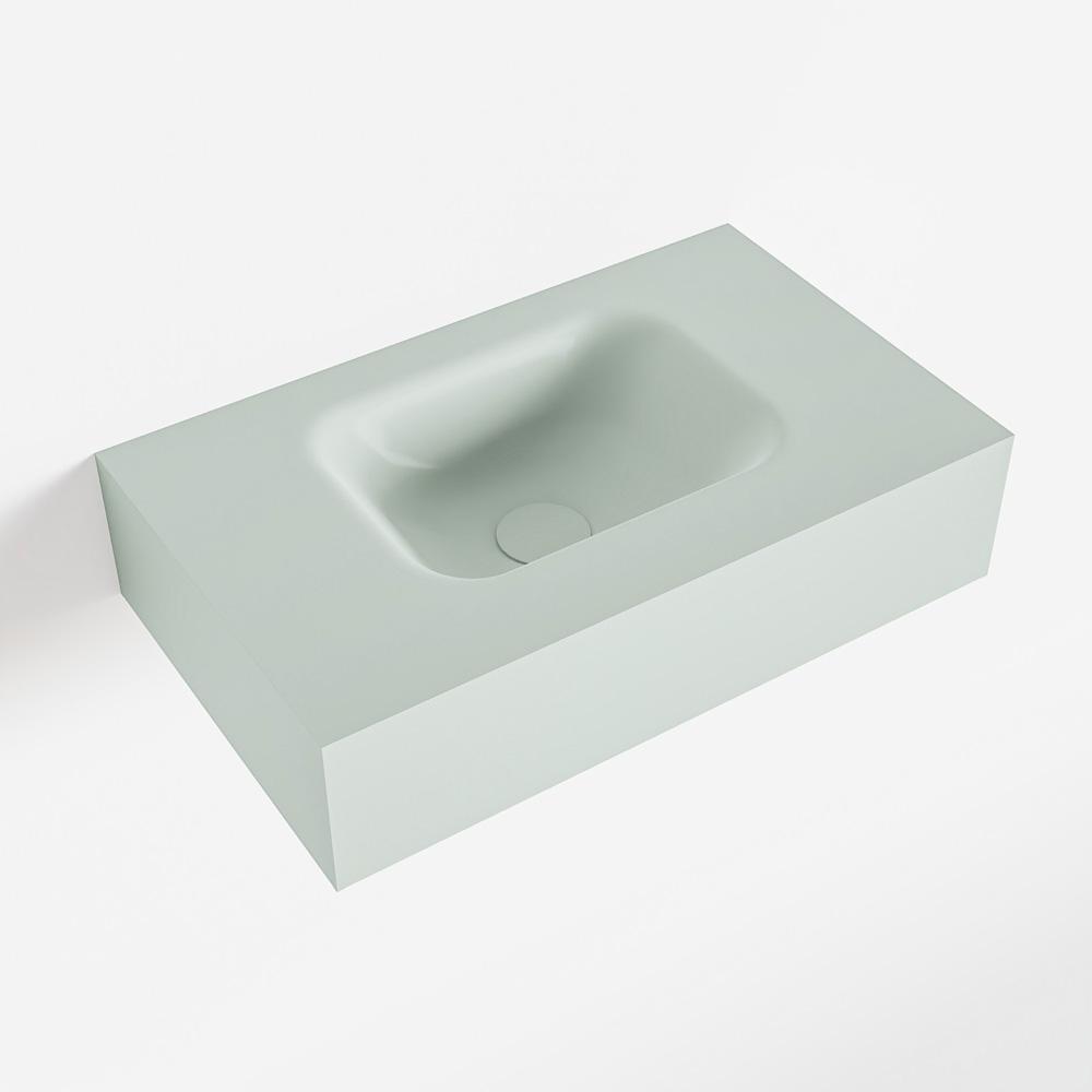 MONDIAZ LEX Greey vrijhangende solid surface wastafel 50cm. Positie wasbak midden