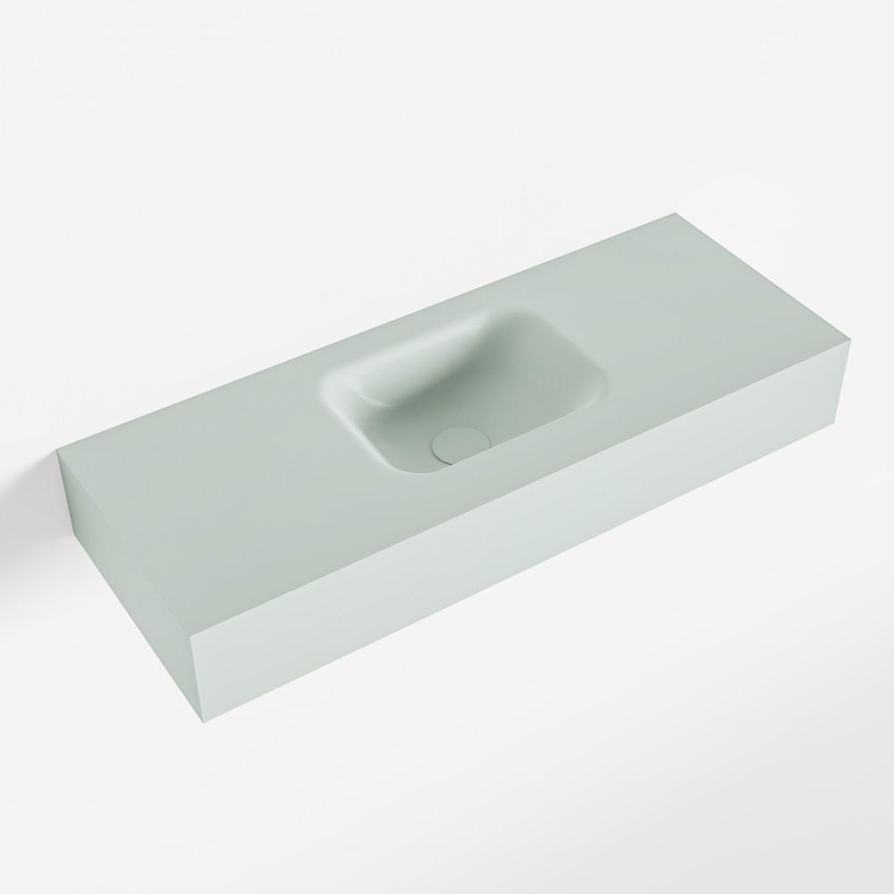 MONDIAZ LEX Greey vrijhangende solid surface wastafel 80cm. Positie wasbak midden
