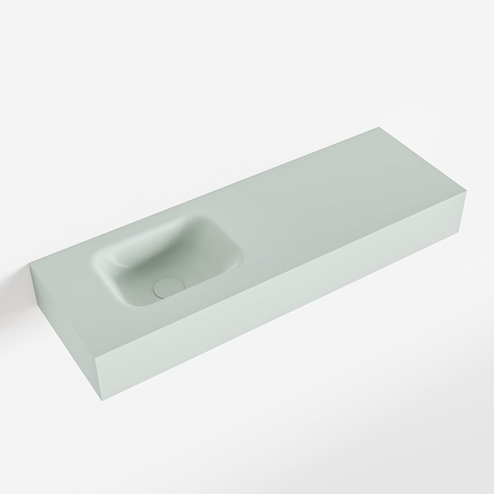 MONDIAZ LEX Greey vrijhangende solid surface wastafel 90cm. Positie wasbak links