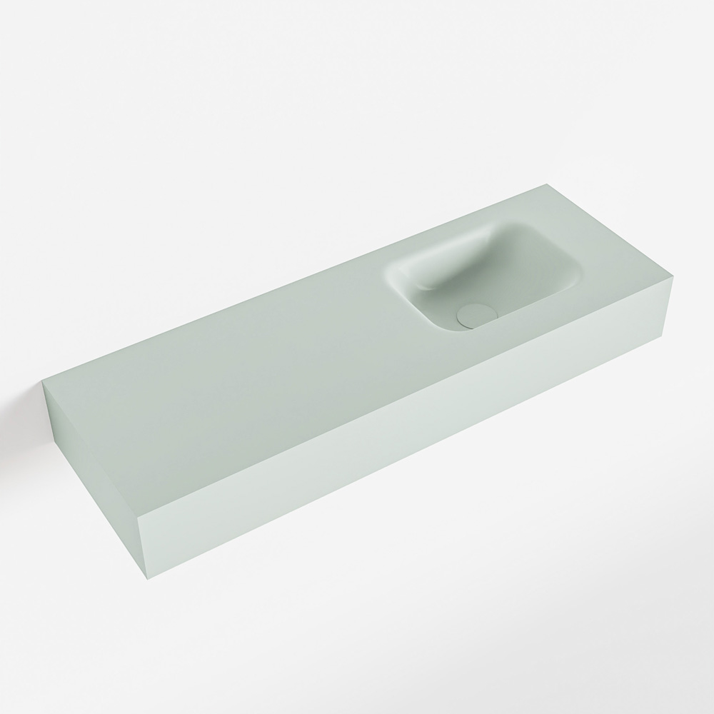 MONDIAZ LEX Greey vrijhangende solid surface wastafel 90cm. Positie wasbak rechts