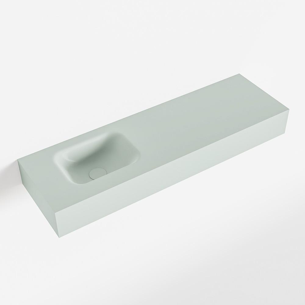 MONDIAZ LEX Greey vrijhangende solid surface wastafel 100cm. Positie wasbak links