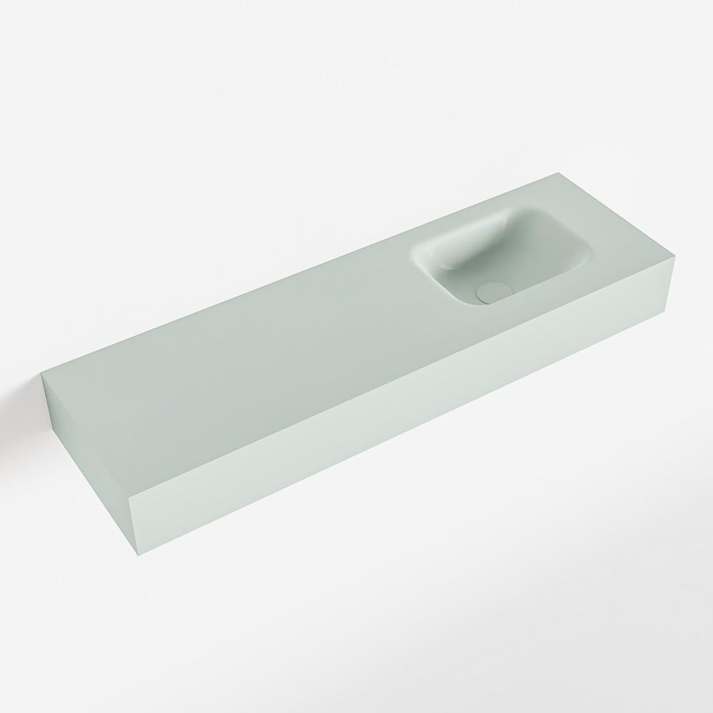 MONDIAZ LEX Greey vrijhangende solid surface wastafel 100cm. Positie wasbak rechts