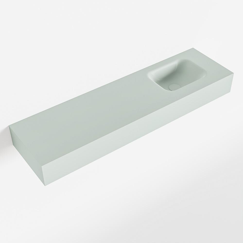 MONDIAZ LEX Greey vrijhangende solid surface wastafel 110cm. Positie wasbak rechts