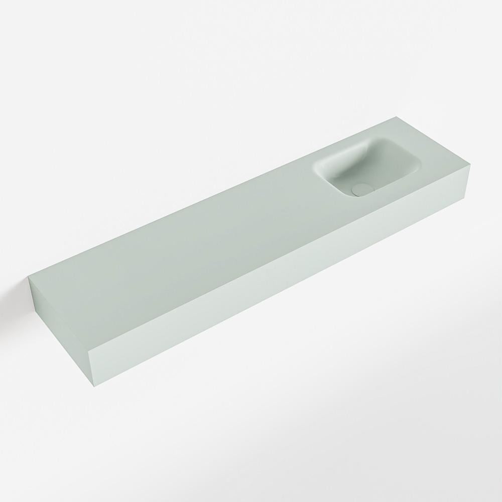MONDIAZ LEX Greey vrijhangende solid surface wastafel 120cm. Positie wasbak rechts