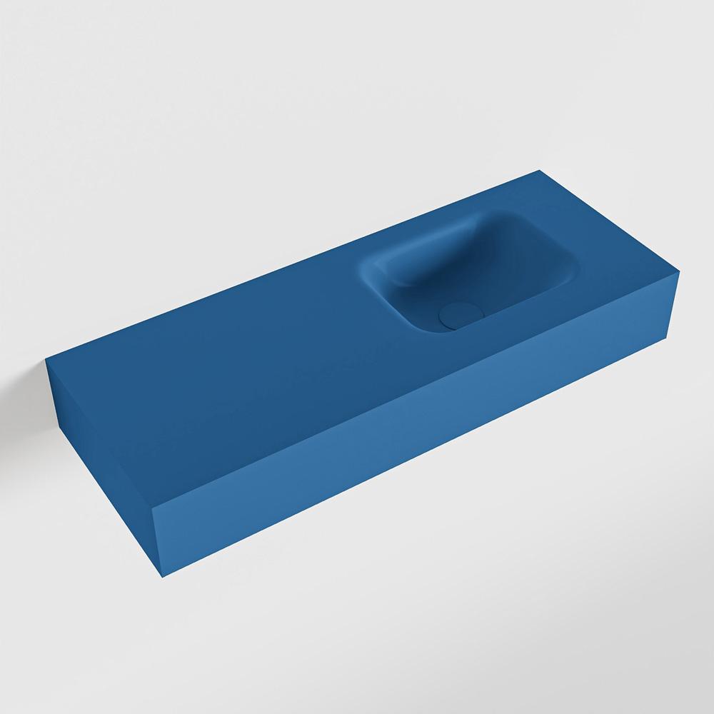 MONDIAZ LEX Jeans vrijhangende solid surface wastafel 80cm. Positie wasbak rechts