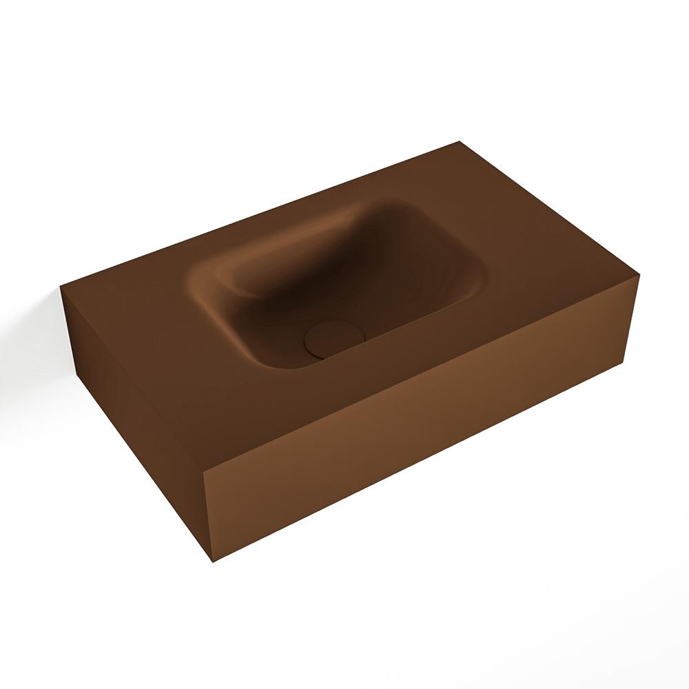 MONDIAZ LEX Rust vrijhangende solid surface wastafel 50cm. Positie wasbak links