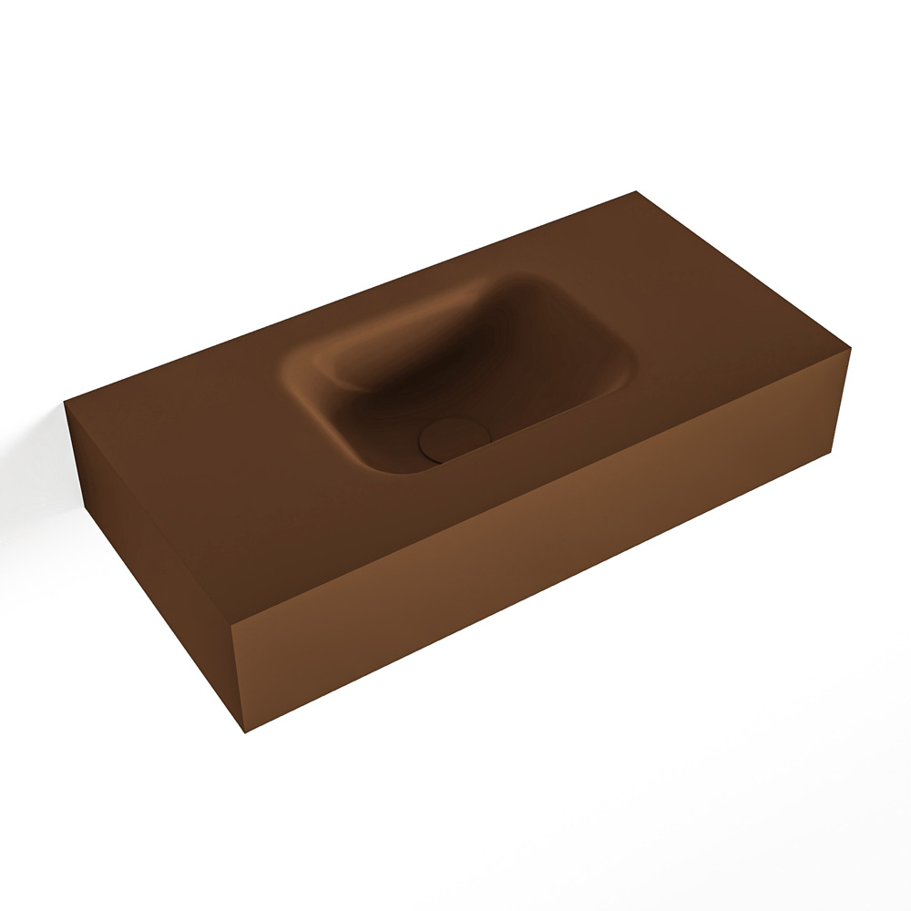 MONDIAZ LEX Rust vrijhangende solid surface wastafel 60cm. Positie wasbak midden