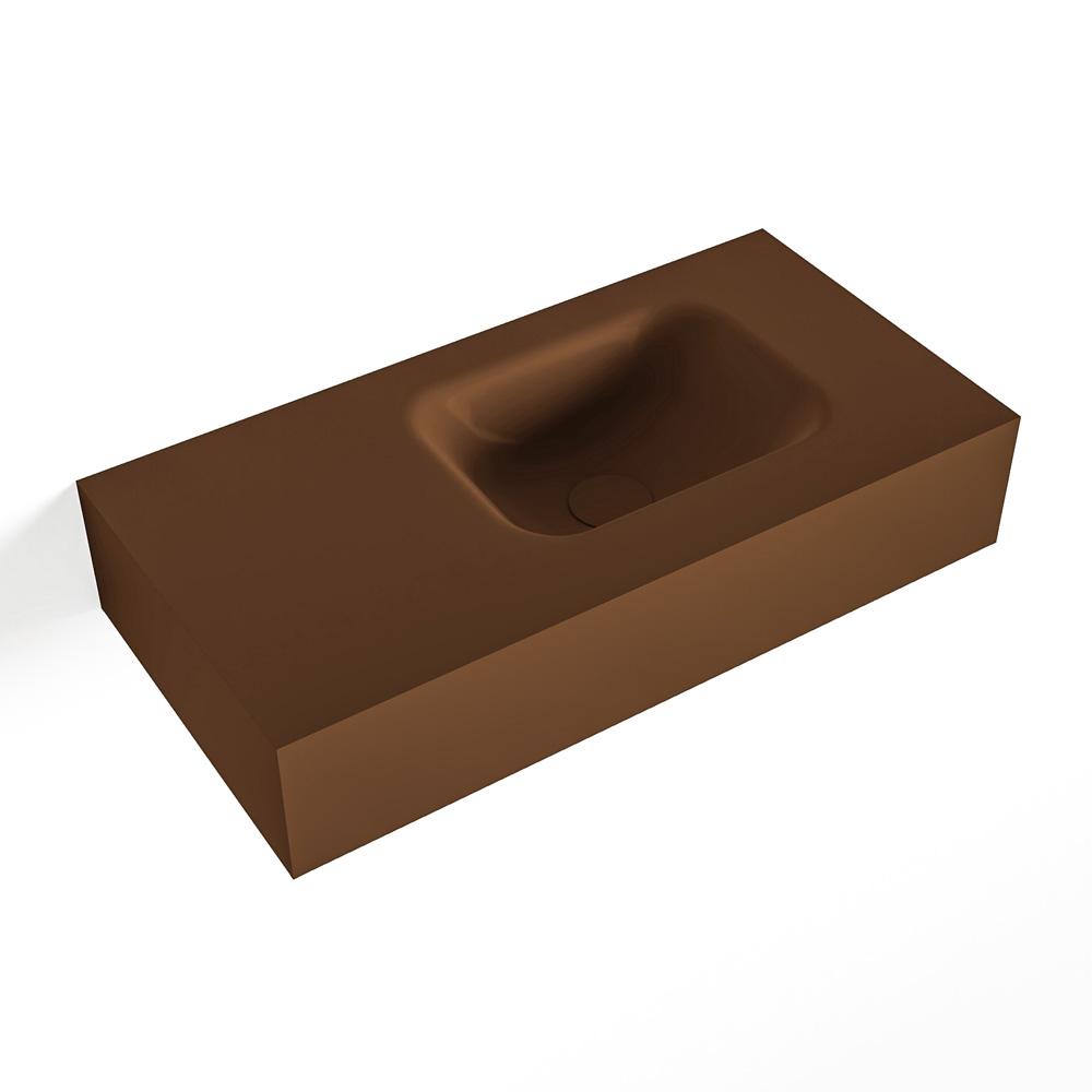 MONDIAZ LEX Rust vrijhangende solid surface wastafel 60cm. Positie wasbak rechts