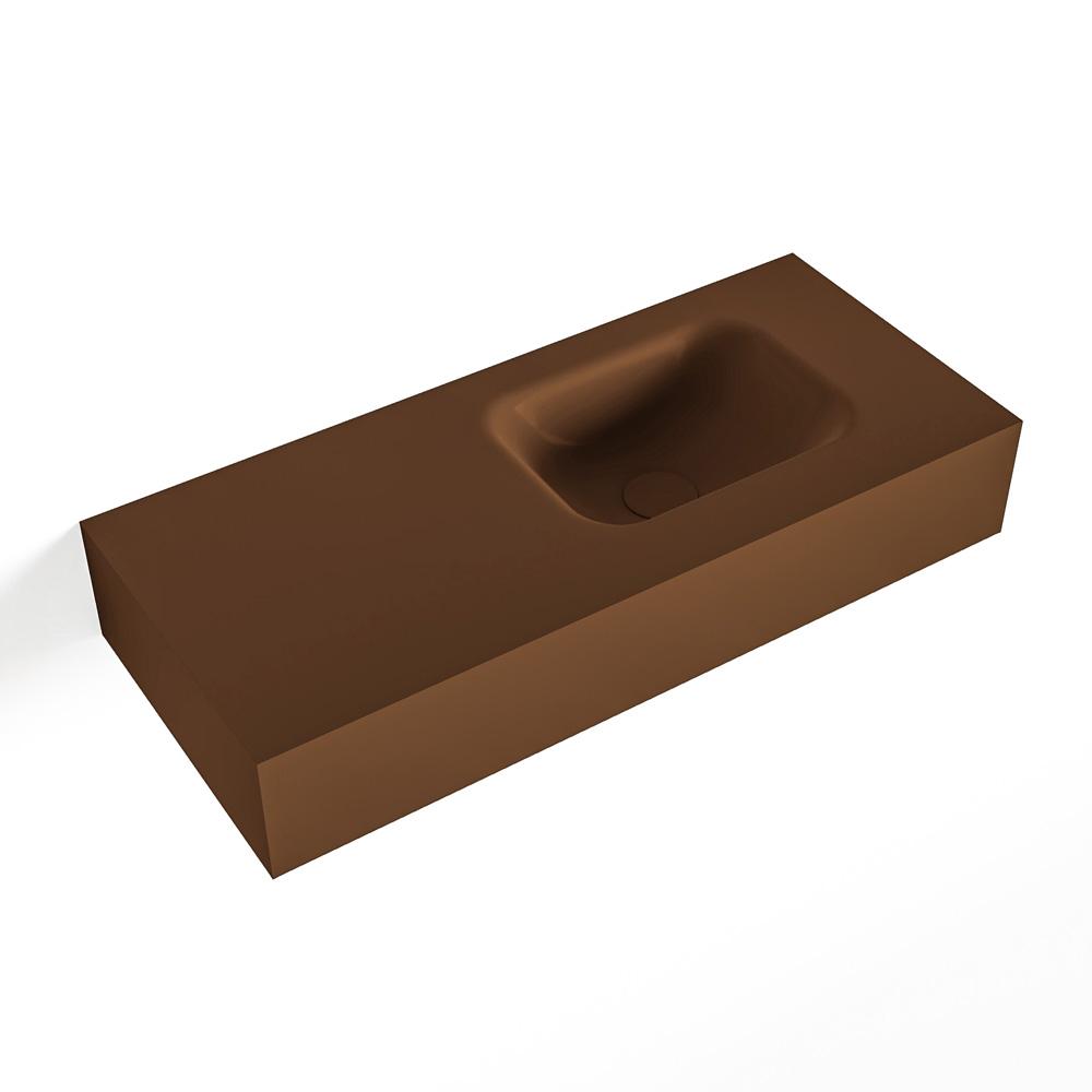 MONDIAZ LEX Rust vrijhangende solid surface wastafel 70cm. Positie wasbak rechts