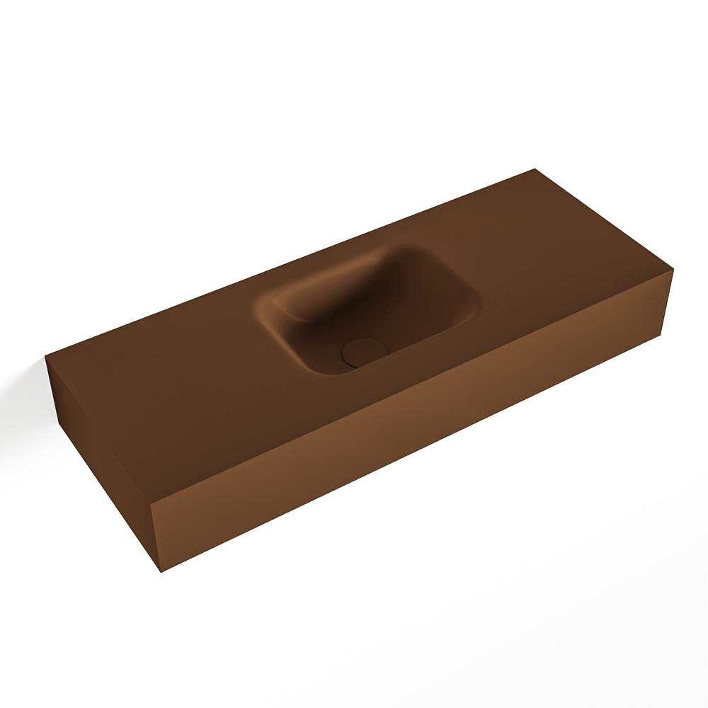 MONDIAZ LEX Rust vrijhangende solid surface wastafel 80cm. Positie wasbak midden