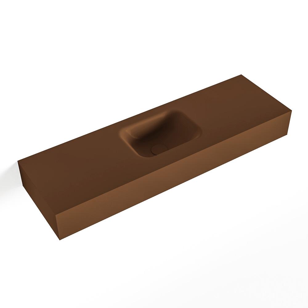 Productafbeelding van MONDIAZ LEX Opbouwwastafel 100x30x12cm 0 kraangaten wasbak midden Solid Surface mat F52119Rust