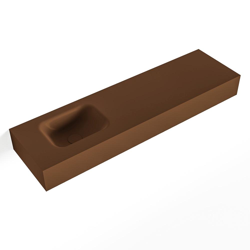 MONDIAZ LEX Rust vrijhangende solid surface wastafel 110cm. Positie wasbak links