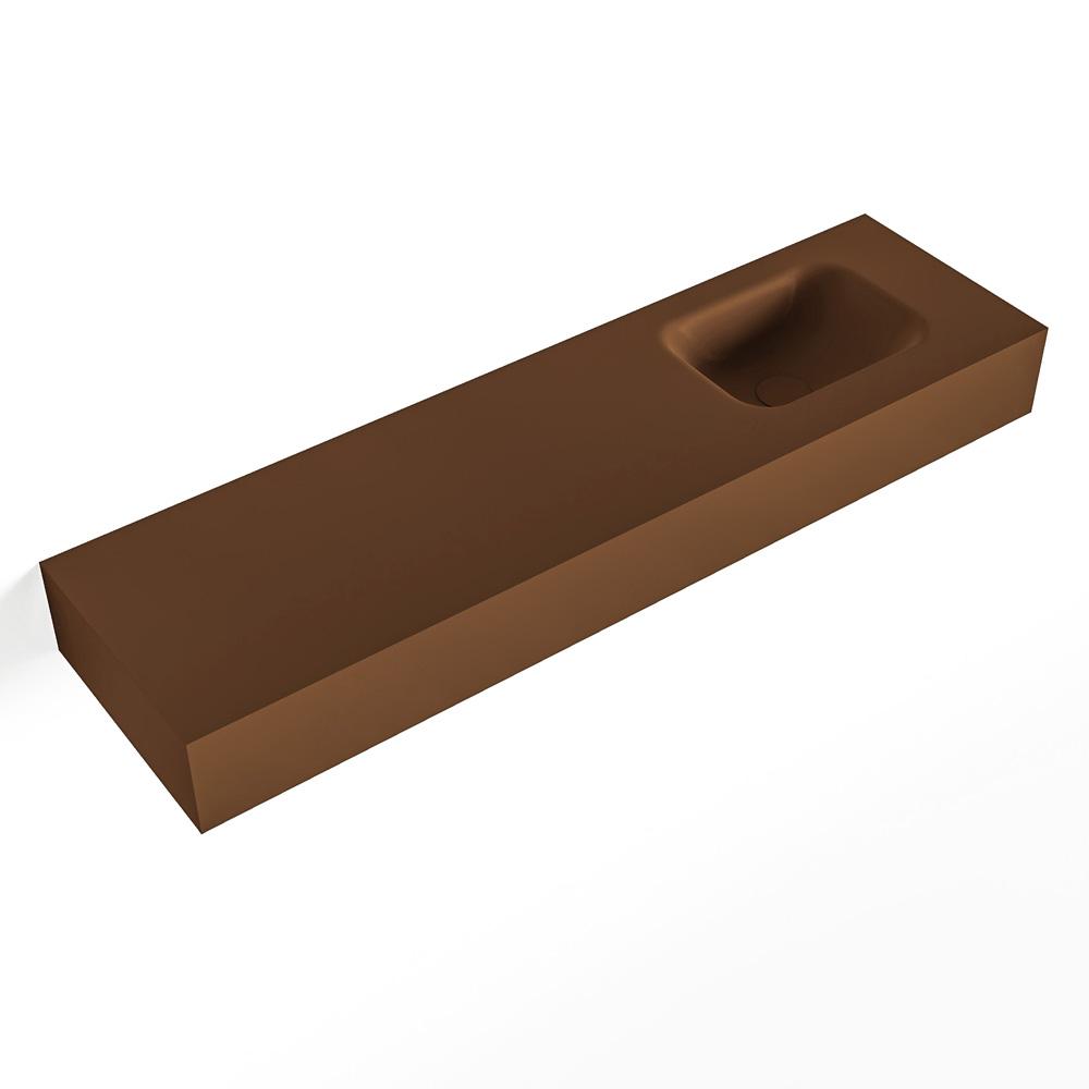 MONDIAZ LEX Rust vrijhangende solid surface wastafel 110cm. Positie wasbak rechts