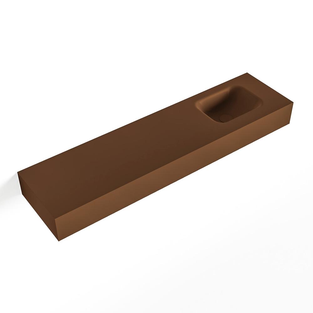 MONDIAZ LEX Rust vrijhangende solid surface wastafel 120cm. Positie wasbak rechts