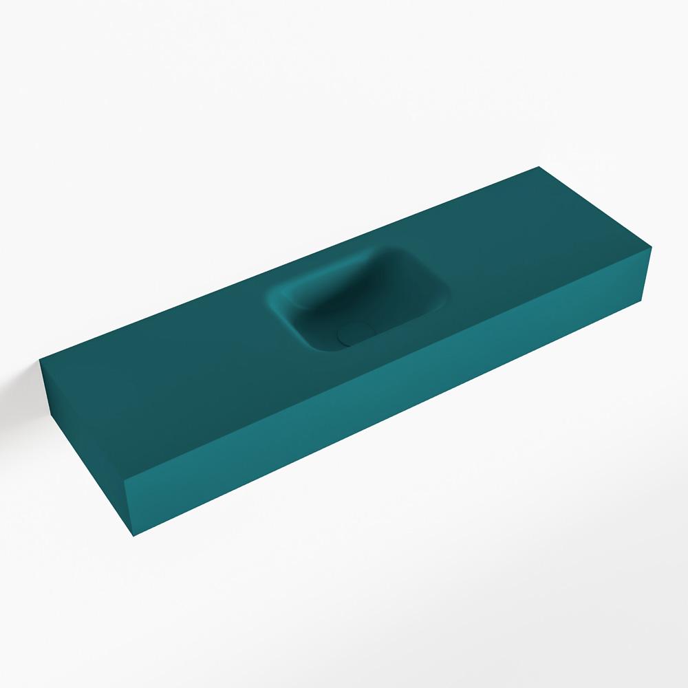 Productafbeelding van MONDIAZ LEX Opbouwwastafel 100x30x12cm 0 kraangaten wasbak midden Solid Surface mat F52119Smag
