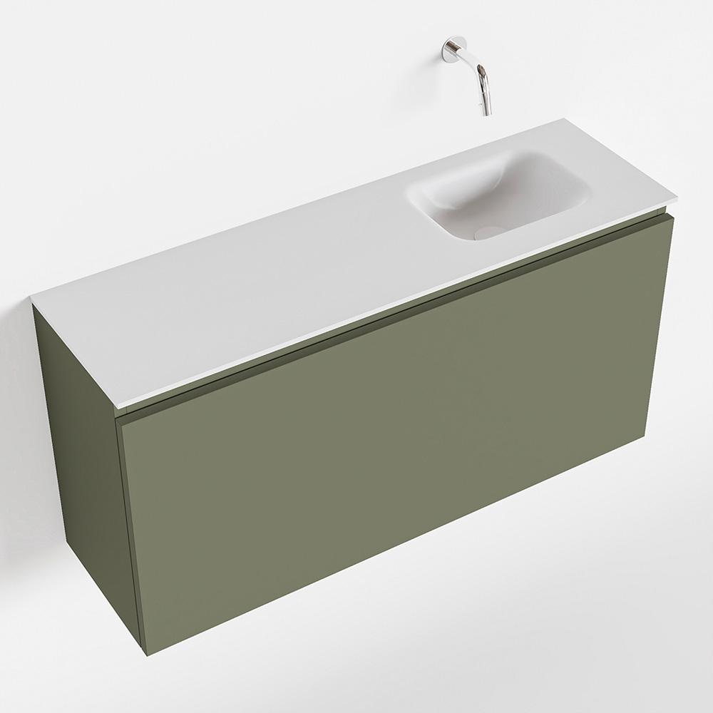 Productafbeelding van MONDIAZ OLAN 100cm toiletmeubel army. LEX wastafel talc rechts geen kraangat