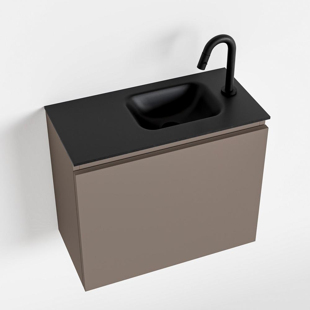Productafbeelding van MONDIAZ OLAN 60cm toiletmeubel smoke. LEX wastafel urban rechts 1 kraangat