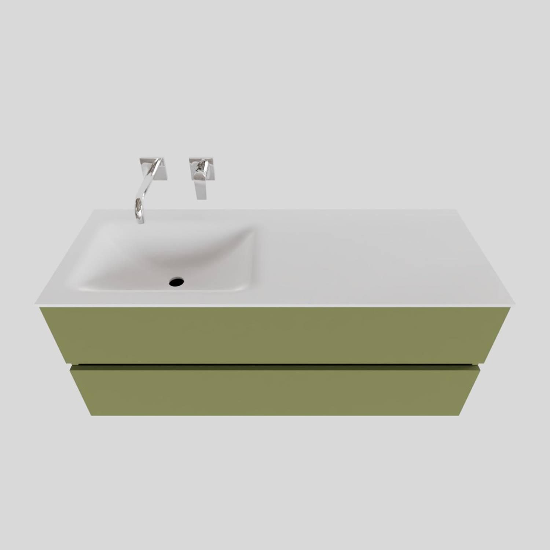 Badkamermeubel Solid Surface BWS Oslo 120x46 cm Links Mat Groen (zonder kraangaten)