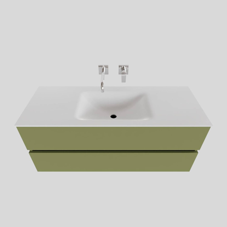 Badkamermeubel Solid Surface BWS Oslo 120x46 cm Midden Mat Groen (zonder kraangaten)