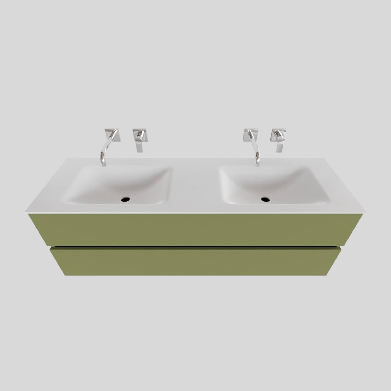 Badkamermeubel Solid Surface BWS Oslo 150x46 cm Dubbel Mat Groen (0 kraangaten)