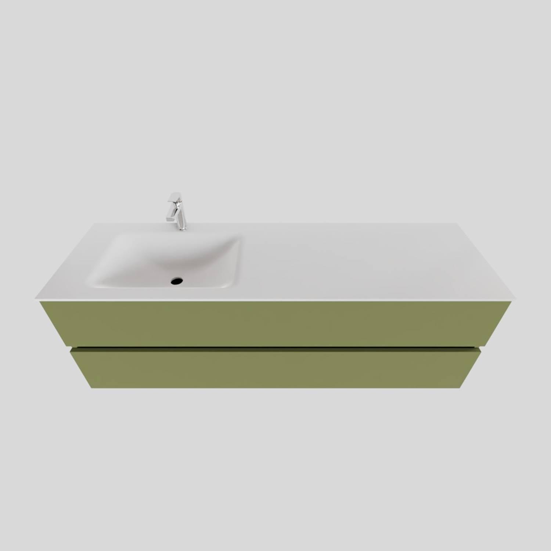 Badkamermeubel Solid Surface BWS Oslo 150x46 cm Links Mat Groen (met 1 kraangat)