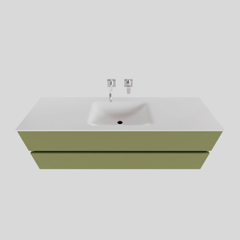 Badkamermeubel Solid Surface BWS Oslo 150x46 cm Midden Mat Groen (zonder kraangaten)