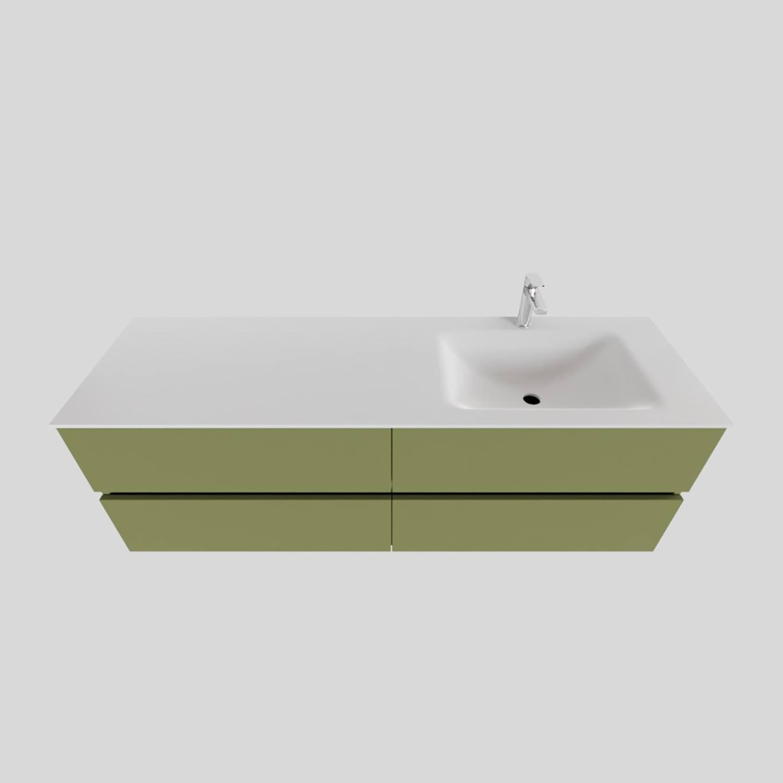 Badkamermeubel Solid Surface BWS Oslo 150x46 cm Rechts Mat Groen 4 Laden (met 1 kraangat)
