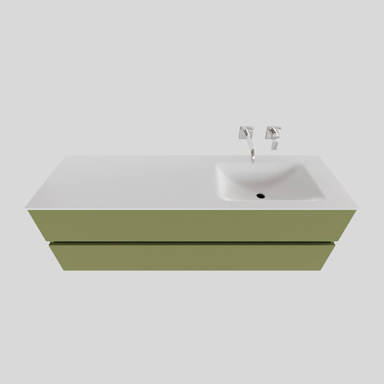 Badkamermeubel Solid Surface BWS Oslo 150x46 cm Rechts Mat Groen (zonder kraangaten)